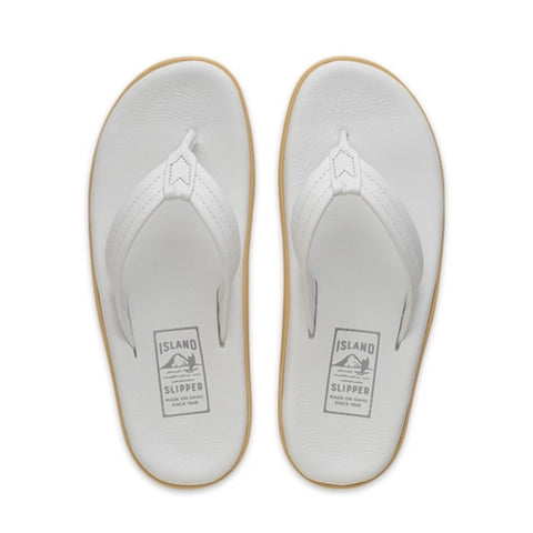 Island Slipper Classic White Leather Thong Sandals