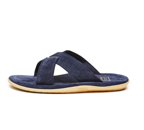 Island Slipper Navy Criss Cross Suede Slide
