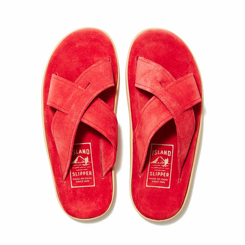 Island Slipper Red Criss Cross Suede Slide