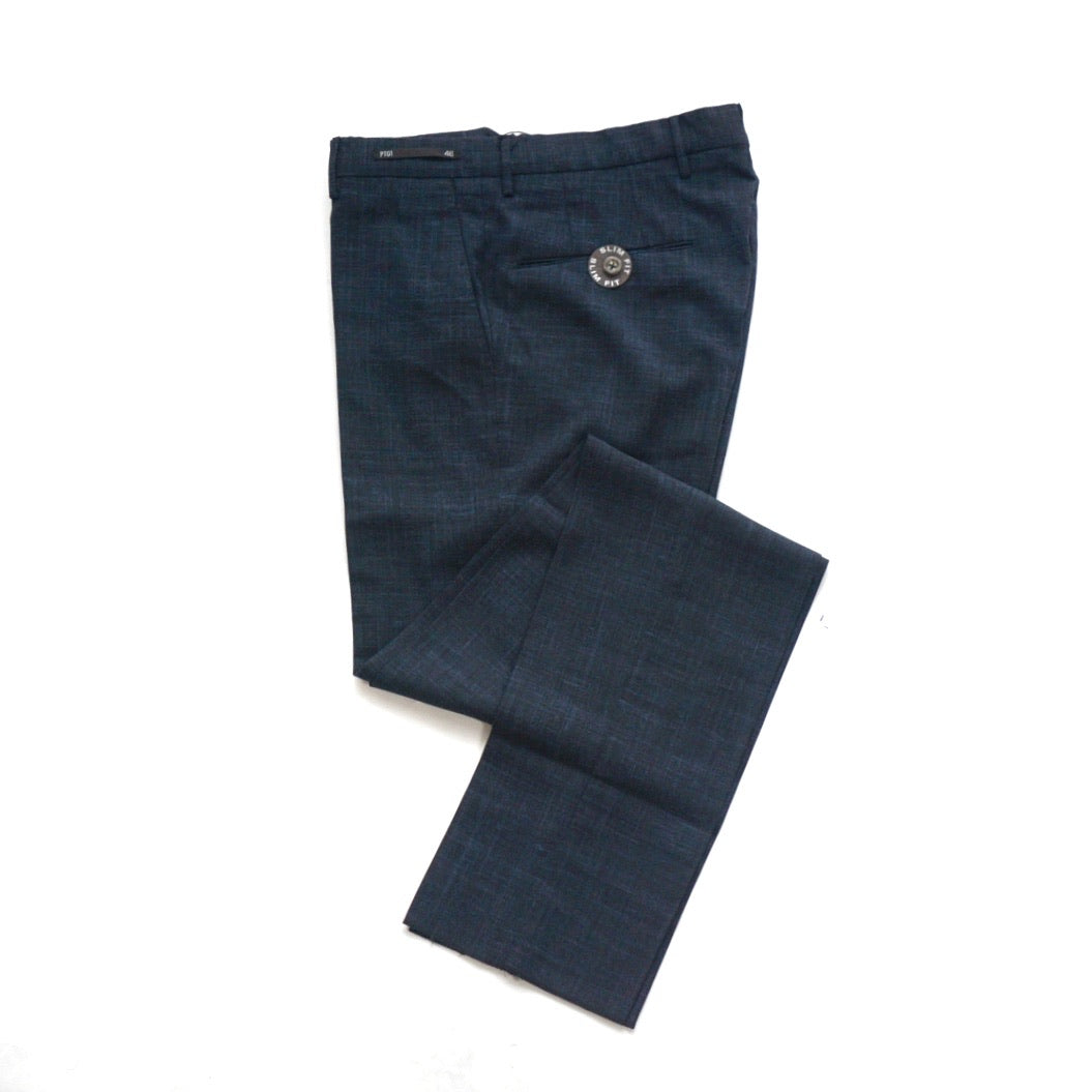 PT01 Blue Textured Travel Pants; 37-0046