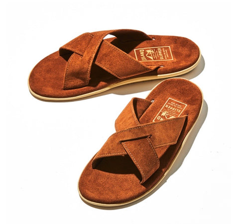 Island Slipper Peanut Brown Criss Cross Suede Slide