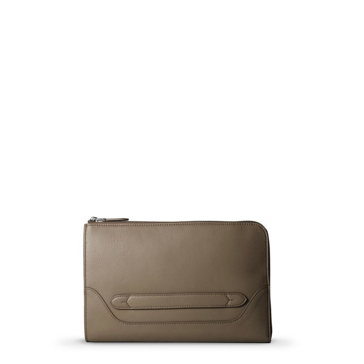 Pelle Morbido Taupe Leather Clutch Bag; MB058