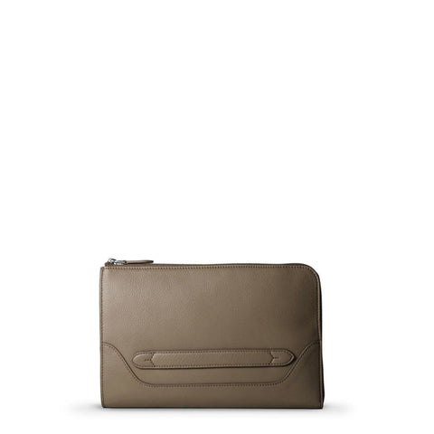 Pelle Morbida Taupe Leather Clutch Bag; MB058