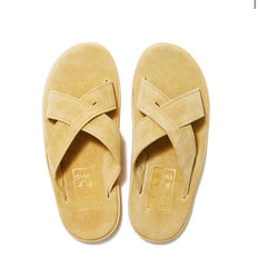Island Slipper Beige Cream Criss Cross Suede Slide