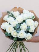 18 White Rose Hand-tied