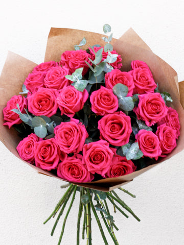 24 Pink Rose Hand-tied