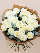 24 White Rose Hand-tied