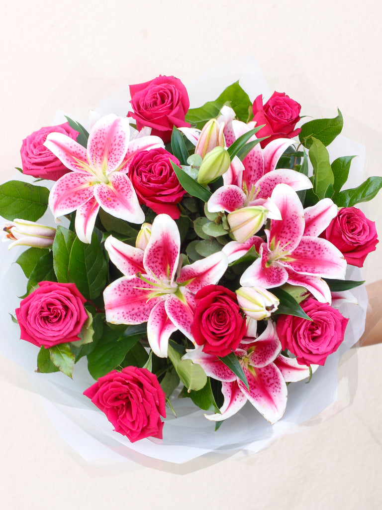 Pink Rose and Lily Hand-tied  - Black Friday Sale