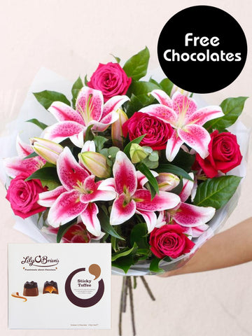Pink Rose and Lily - Free Chocolates!