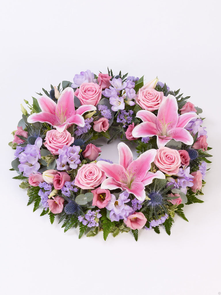 Rose and Lily Wreath Pink & Lilac