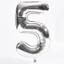 Silver 5 Large Balloon