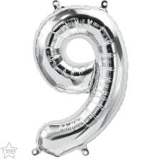 Silver 9 Large Balloon