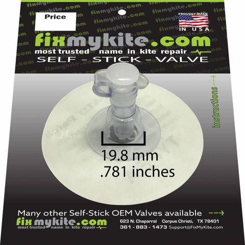 FixMyKite 7mm Inflate Self Stick Valve, One Way, Repair, - Live2Kite