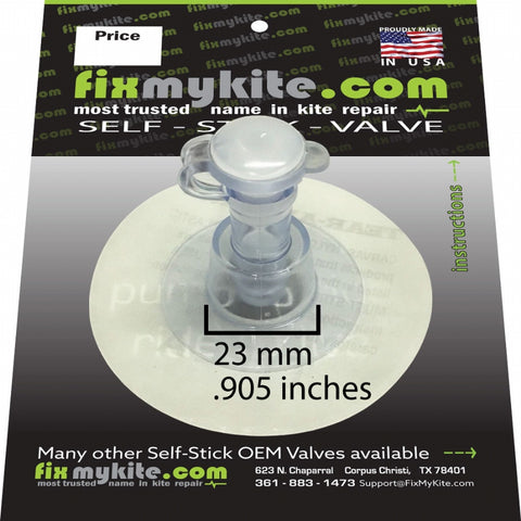 FixMyKite 9mm Inflate Self Stick Mega Valve, One Way, Repair, - Live2Kite