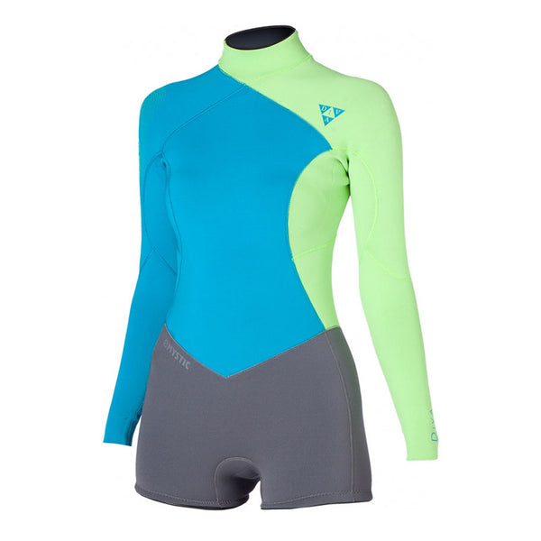 Mystic 2016 Women's Diva Longarm Super Shorty 3/2 Backzip Wetsuit, Wetsuit, - Live2Kite