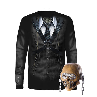 Vic Rattlehead Allover Print Long Sleeve Tee & latex Mask