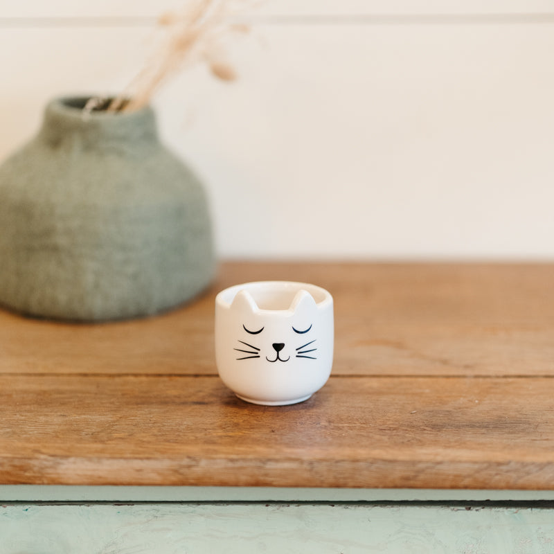 Mini cache pot porcelaine chat