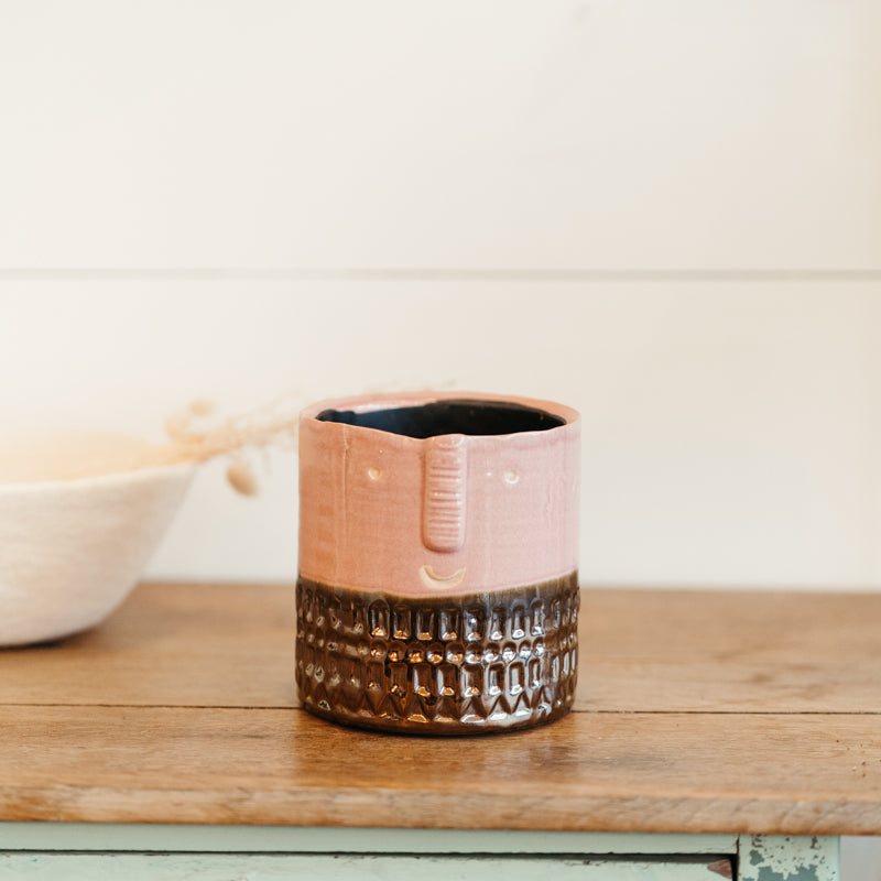 CAche-pot tête Rose bronze