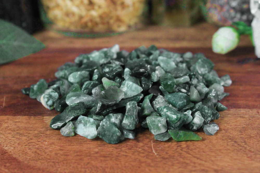 Moss Agate Chips - 2 oz Bag