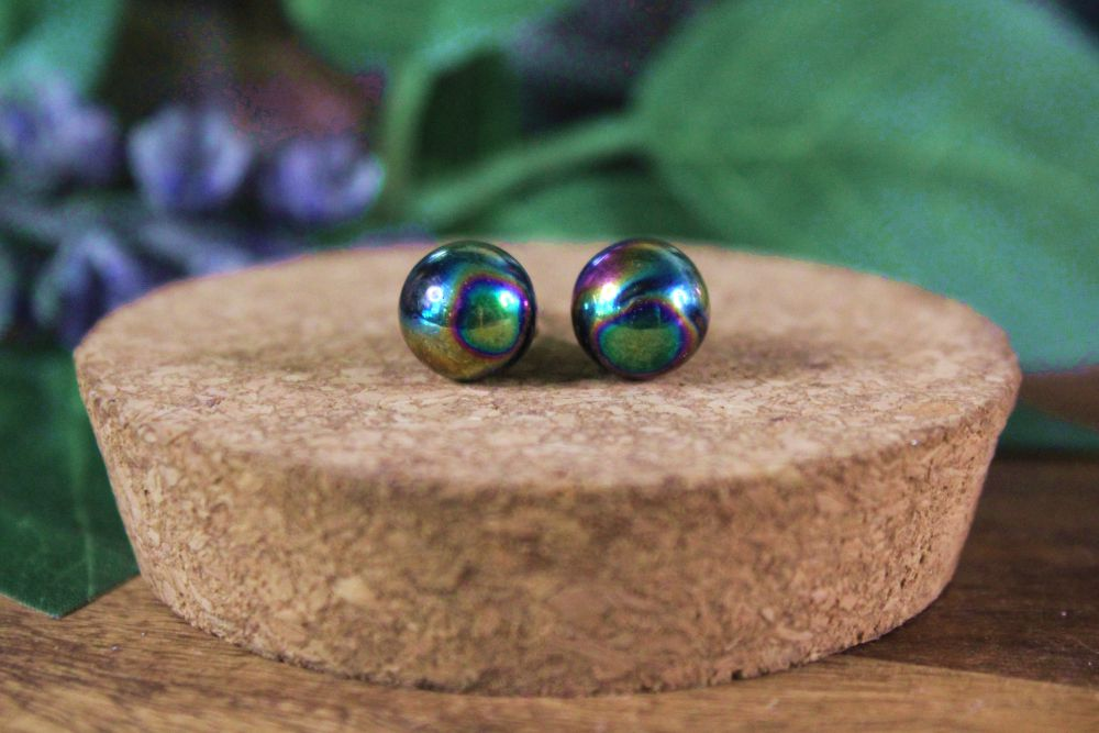Rainbow Hematite Stud Earrings