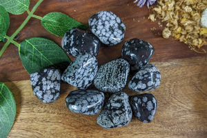 Tumbled Snowflake Obsidian Lg - Set of 3
