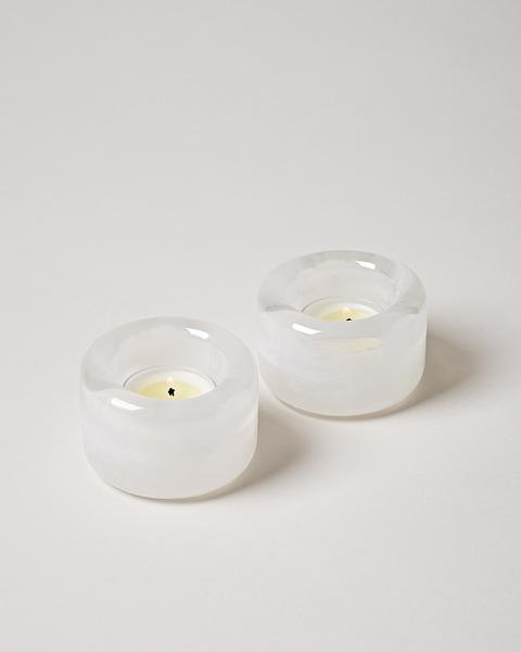 Riverstone Tealight Pair - Milk