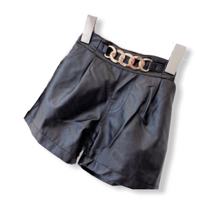 BUCKLE FAUX LEATHER SHORTS