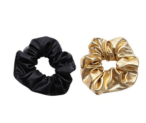 GOLD AND BLACK FAUX LEATHER SCRUNCHIES
