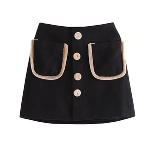 SADIE SKIRT - with pocket and button decoration.