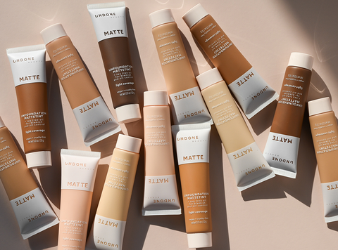 Group of Undone Beauty Unfoundation Matte Tint on beige background.