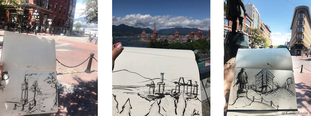 Karlie Carpentier Rosin Sketches of Gastown Landmarks in Vancouver
