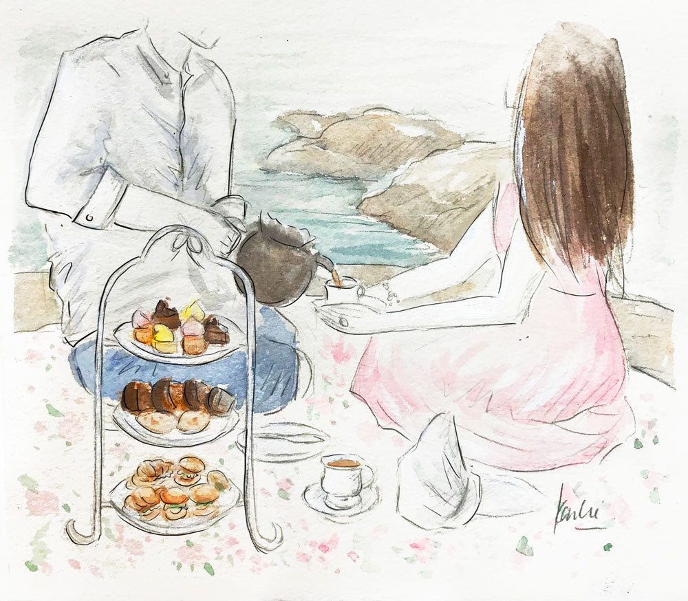 Artist Karlie Rosin illustrates high tea to go with her fiance