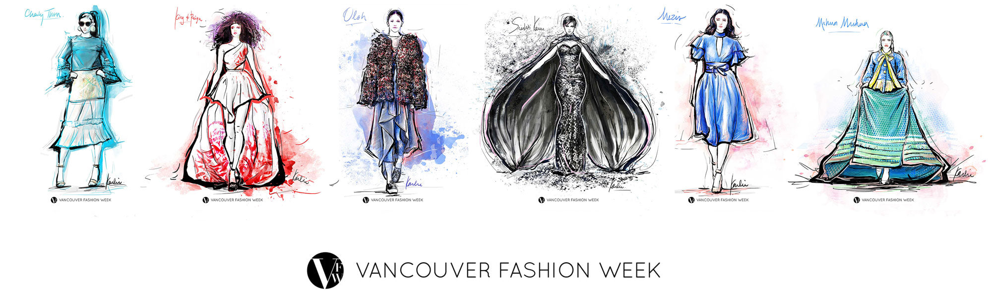 Vancouver Fashion Week ss18 as illustrated by Karlie Carpentier Rosin