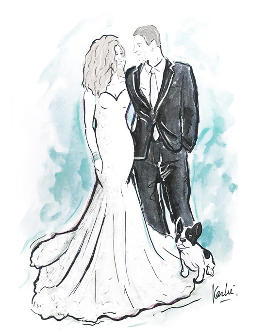 Custom wedding couple illustration wedding gift