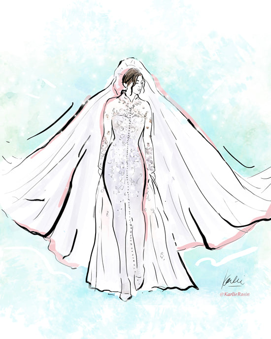 Custom wedding illustration bridal fashion