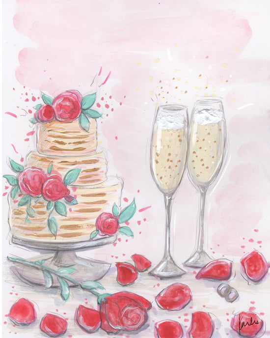 Custom wedding cake illustration by karlie rosin