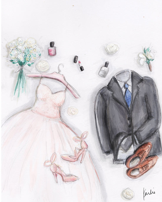custom wedding illustration by karlie rosin wedding dress and wedding suit