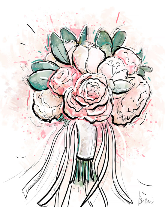 Custom wedding bouquet illustrations by karlie rosin