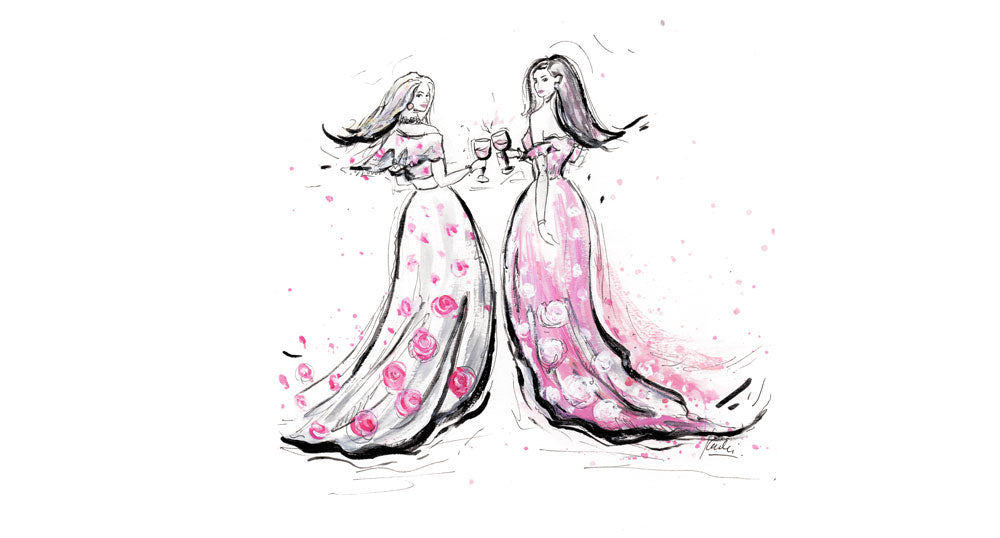 Karlie Rosin creates custom fashion illustrations here is one of two wine bloggers