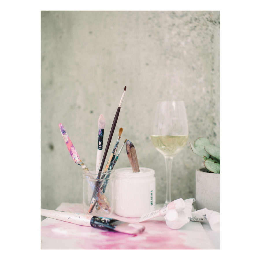 Karlie Rosin Artist studio in Gastown Vancouver paint supplies and wine