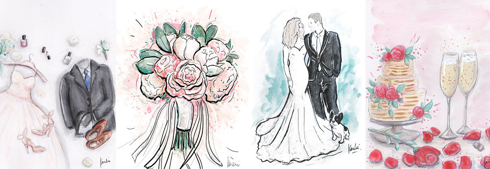 Custom wedding illustrations by karlie rosin header