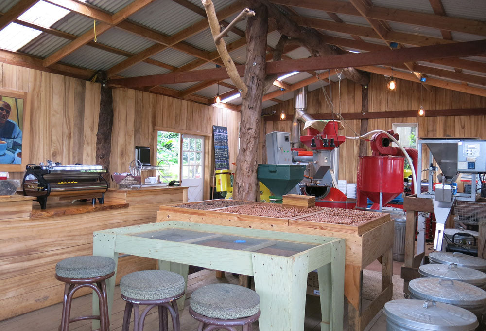 Oo Farm in Maui coffee roaster building