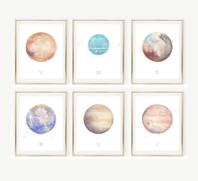 zodiac birthday signs art print collection 02