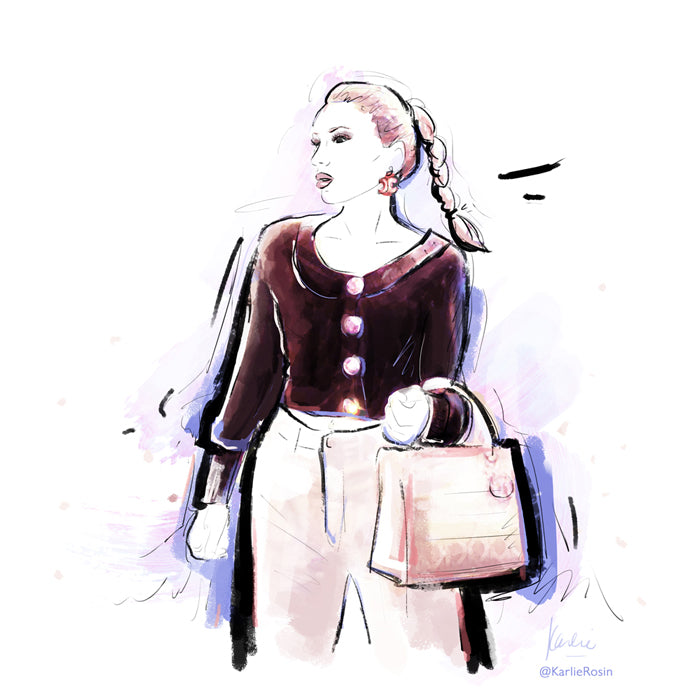 custom fashion illustration influencer at paris fashion week wearing dior