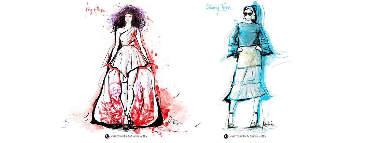 Vancouver Fashion Week Illustrated by Karlie Carpeniter Rosin King and Reign and Charly Thorn