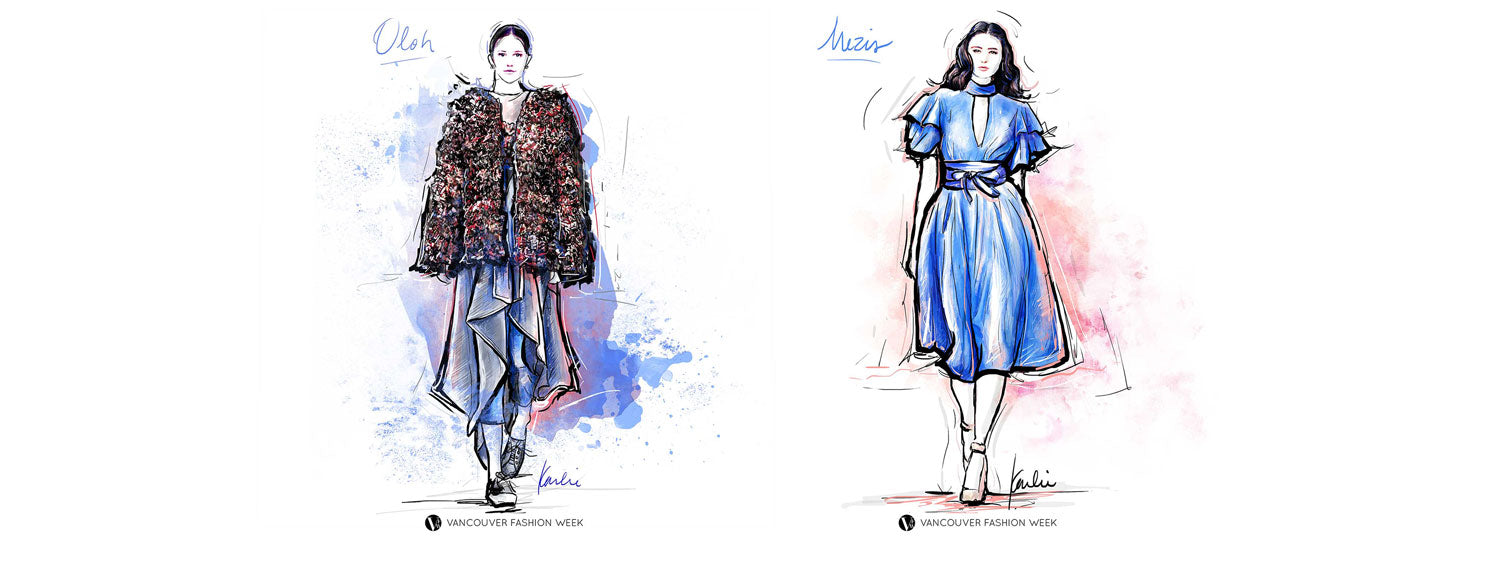 Vancouver Fashion Week ss18 illustrated by Karlie Carpentier Rosin designers oloh and mezis