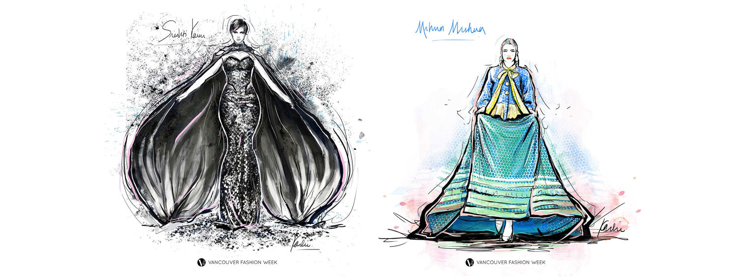 Vancouver Fashion Week SS18 illustrated by Karlie Carpentier Rosin designers Shrishti Kaur and MrHua MrsHua