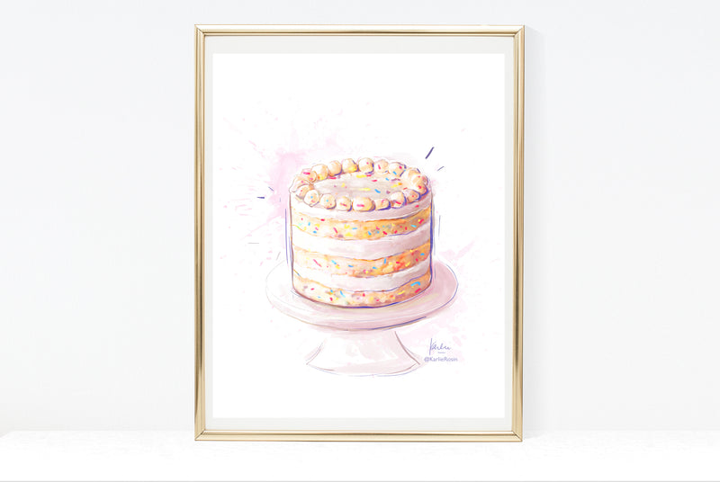 Birthday Cake Art Print | Cake Illustration | 5x7, 8x10, 11x14