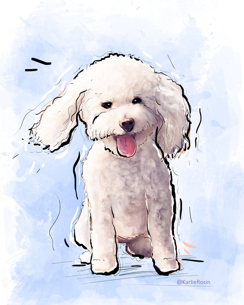 Dog Illustration | Cute Poodle Dog Art | 5x7,  8x10, 11x14
