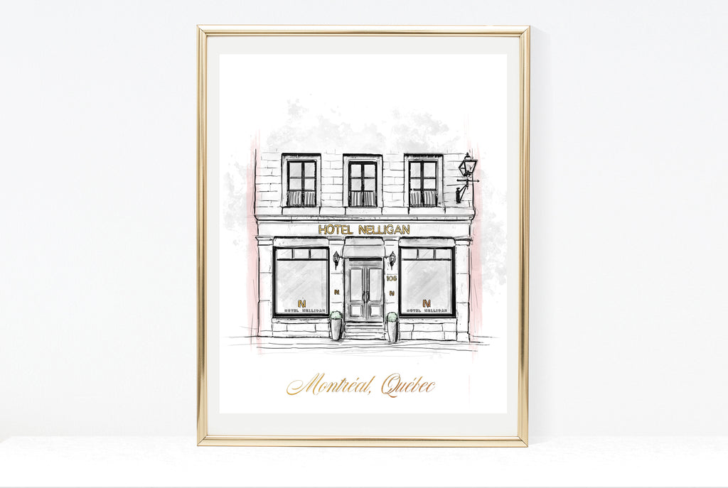 Hotel Nelligan Illustration Print |  Linear Art Of Old Montreal | 8x10, 11x14